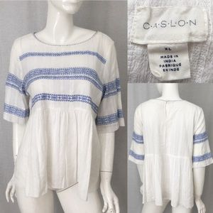 Size XL Caslon Embroidered Boho Peasant Blouse Top
